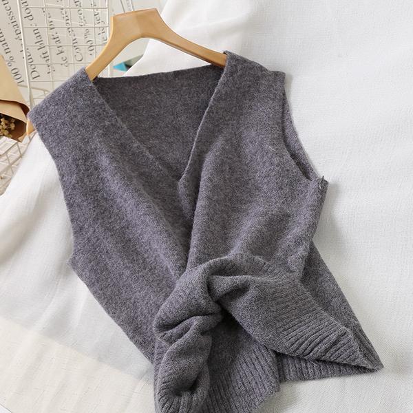 針織背心女秋季新款女裝韓版寬鬆學生背心坎肩針織衫無袖上衣
