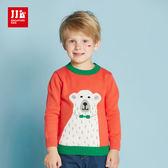 JJLKIDS 男童 流汗的北極熊長袖毛衣 上衣(橙色)