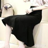 中大尺碼魚尾裙 a字裙半身裙秋女韓版荷葉邊包臀裙一步裙長裙 nm15594【歐爸生活館】