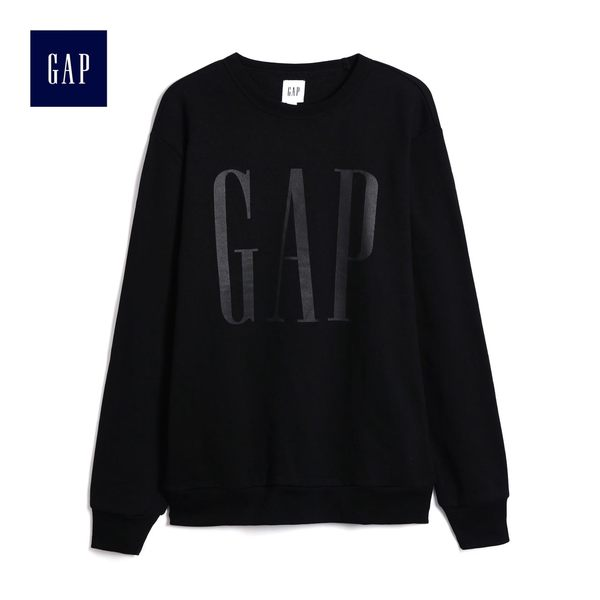 Gap男裝 時尚純色Logo印花長袖上衣 499904-正黑色