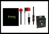 HTC 聆悅 MAX300 立體聲原廠扁線入耳式耳機 黑紅 (盒裝)