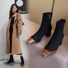 手工真皮女鞋34~39 2020新款牛皮拼接時尚優雅方頭中跟短靴~3色