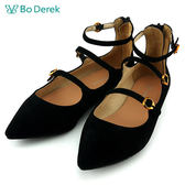 ★新品上市★【Bo Derek】時尚扣帶尖頭平底鞋-黑