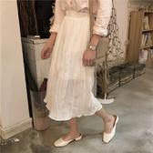 新款百搭鬆緊高腰寬鬆顯瘦女學生中長裙