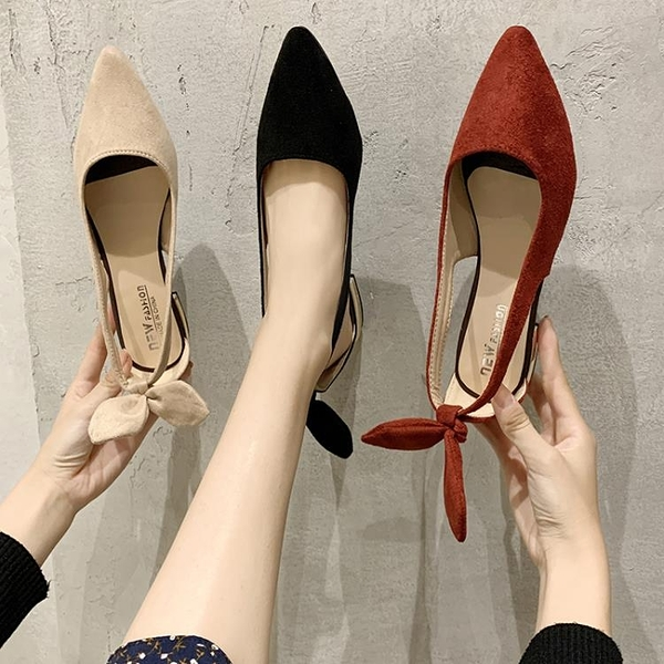單鞋 單鞋女2020春季新款平底鞋女百搭網紅尖頭淺口蝴蝶結粗跟紅色女鞋 印象