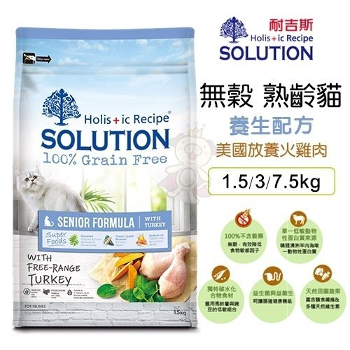 *WANG*新耐吉斯SOLUTION《超級無穀貓-熟齡貓 養生配方》1.5公斤 貓飼料