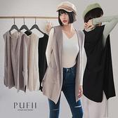PUFII-針織外套 連帽針織背心開襟外套-1012現+預 秋【CP21134】