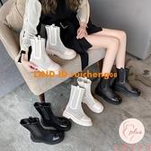 網紗馬丁靴女夏季鏤空涼靴女透氣百搭短靴西靴【大碼百分百】