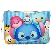 〔小禮堂〕迪士尼 TsumTsum 皮質扁平拉鍊化妝包《藍.大臉》收納包.萬用包.筆袋 4713549-70083