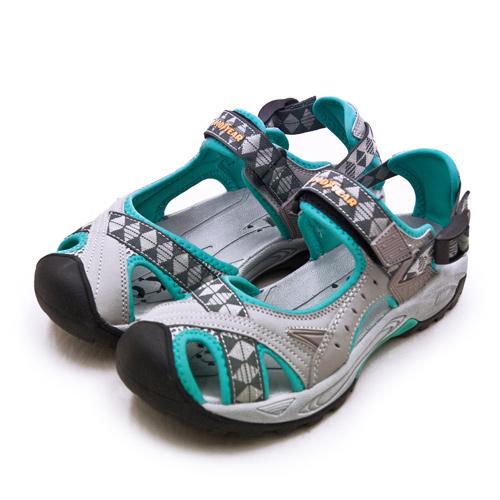 LIKA夢 GOODYEAR 固特異 排水透氣輕便水陸護趾涼鞋 灰藍 82708 女