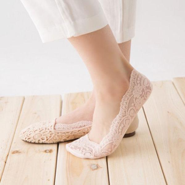 襪子【FSW057】優雅蕾絲隱形絲 隱形襪 短襪 螢光色 氣墊襪 純棉 毛巾襪 123ok