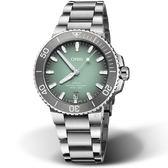 Oris豪利時Aquis時間之海300米潛水錶 73377324137-0782105PEB  薄荷灰