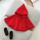 小紅帽流蘇球細刷絨連帽斗篷 披肩 外套 ...