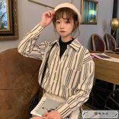 春季韓版chic寬松假兩件半高領條紋襯衫學生休閑打底衫襯衣上衣女