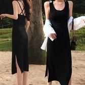 黑色莫代爾內襯打底緊身吊帶背心連身裙夏女中長款2020年新款內搭 童趣屋