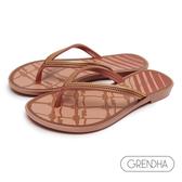 GRENDHA 海洋風結繩圖飾人字鞋-粉橘/金
