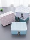 創意馬口鐵盒子帶鎖收納盒 桌面收納整理儲物盒 小箱子化妝品盒 三角衣櫃