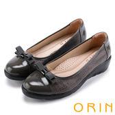 ORIN 典雅甜心 雙材質拼接厚底娃娃鞋-灰色