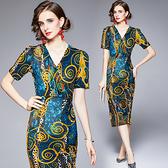 中大尺碼洋裝連身裙~復古優雅氣質連身裙女V領修身性感開叉中長裙子538#H405A莎菲娜