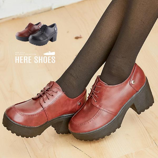[Here Shoes]日系甜美學院風小清新少女新款7.5CM高粗跟防水台英倫風短靴踝靴─KD620