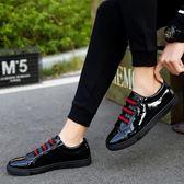 夏季板鞋男士一腳蹬亮皮鞋社會小伙鞋子學生豆豆鞋百搭潮鞋