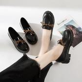 英倫復古女娃娃鞋 英倫復古學生單鞋粗跟黑色小皮鞋女韓版百搭一腳蹬樂福鞋休閒女鞋 99