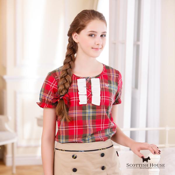 胸前蝴蝶結造型格紋上衣 Scottish House【AD1301】