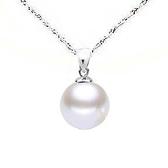 白色貝珍珠圓珠吊墜純銀項鍊