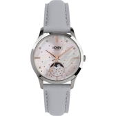 【台南 時代鐘錶 Henry London】英倫復古風潮 典雅品味月相腕錶 HL35-LS-0327 銀 35mm