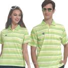 【日本名牌Kawasaki】男女電腦條紋運動休閒短POLO衫(黃綠條紋)