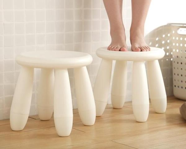 簡約白色小板凳 塑料小凳子成人兒童衛生間洗澡凳 矮凳家用小椅子