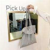 側背包棉麻肩背包-條紋抽繩簡約手提購物袋73pp389[時尚巴黎]