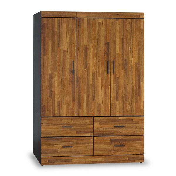 衣櫥【時尚屋】[5U7]黑色配柚木集成材耐磨4x6尺木心板衣櫃5U7-169-4146免運費/免組裝/臥室系列/衣櫥