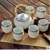集雅斯 精品茶具套裝特價 景德鎮陶瓷茶具套裝 加厚6茶杯1茶壺