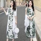 春天棉麻洋裝兩件套裝2021年春夏新款收腰氣質顯瘦亞麻長裙子女 設計師