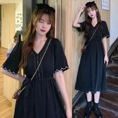 大碼洋裝~洋裝連身裙~9588刺繡花瓣袖口收腰顯瘦氣質赫本風連身裙女法式復古小黑裙R10衣時尚