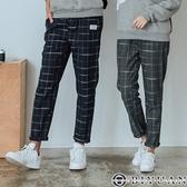 格紋休閒褲 長褲【F55709】OBIYUAN 修身剪裁九分工作褲 共2色