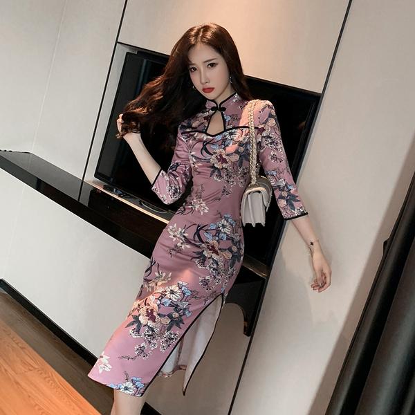 清倉388 韓系時尚復古改良旗袍七分袖修身顯瘦長袖洋裝