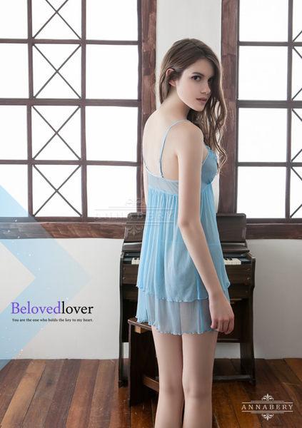 【中大尺碼睡衣】水藍雙層柔紗性感睡衣 星光密碼B051