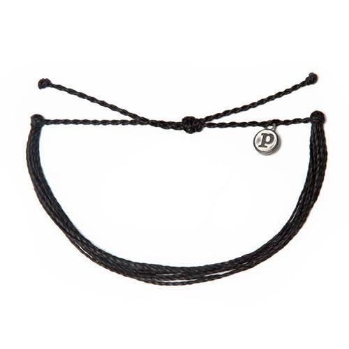 Pura Vida 知名美國衝浪品牌 SOLID BLACK 黑色可調式防水衝浪手鍊