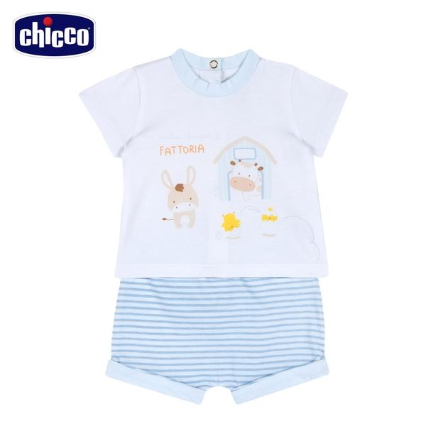 chicco-粉彩-小馬條紋短袖套裝