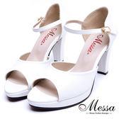 【Messa米莎專櫃女鞋】MIT絕美素面一字繫踝魚口粗高跟涼鞋-白色