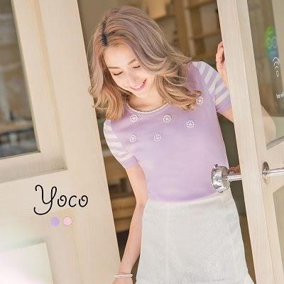 東京著衣【YOCO】春日花語綴珠針織上衣-XS.S.M(6014785)