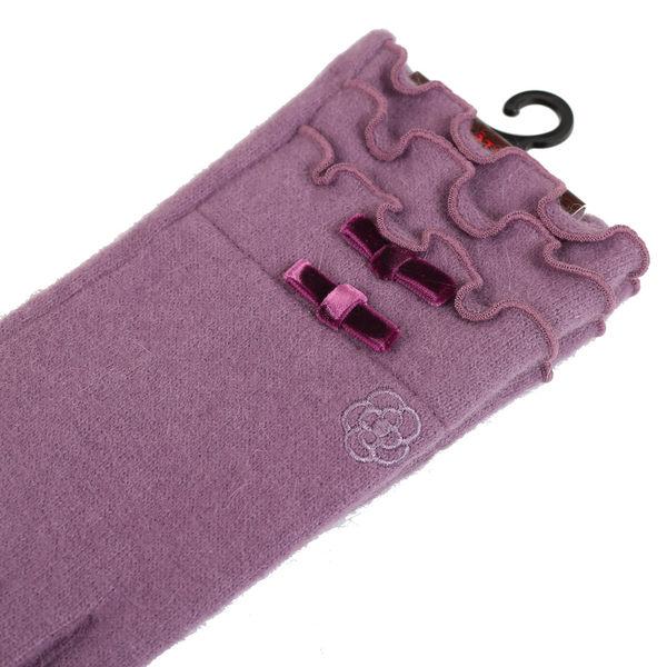 CLATHAS 安哥拉混羊毛絲絨蝴蝶結觸控手套(紫色)