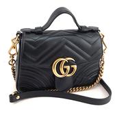 【奢華時尚】GUCCI GG Marmont 黑色W紋牛皮金鍊手提斜背兩用包(八八成新)#24065