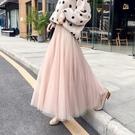 秋冬季新品沙裙黑色仙女網紗裙超火的裙子中長版紗裙