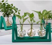 【雙12】全館85折大促創意木架水培花瓶綠蘿植物玻璃花器客廳