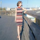 無袖洋裝 2021夏季新款港味chic修身顯瘦條紋冰絲無袖中長款針織包臀連身裙