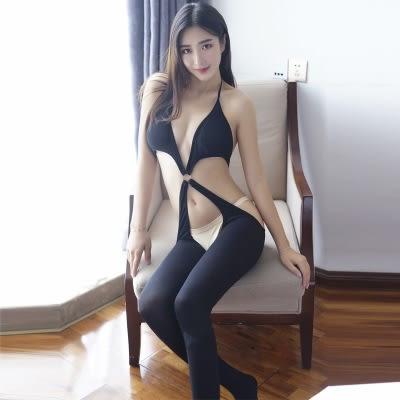 全館83折 性感免脫開襠誘惑絲襪透明掛脖黑色連體情趣三點內衣連身襪套裝女