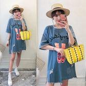 中大尺碼8095#【實拍】2019夏季新款大碼女裝胖mm牛仔顯瘦連衣裙200斤(R032)